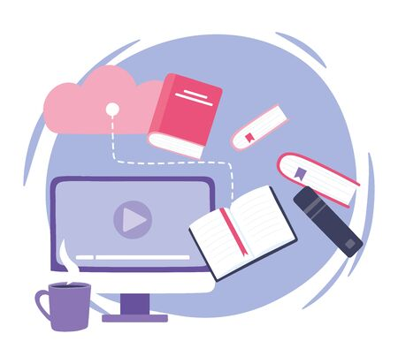 online training, computer cloud storage books and coffee cup, education and courses learning digital vector illustration