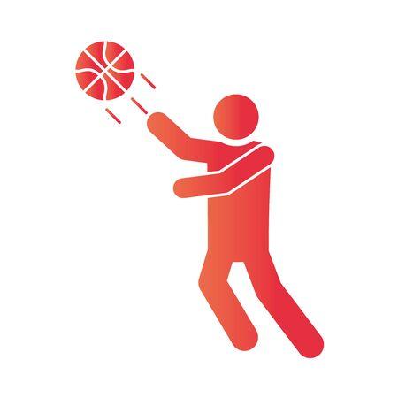 basketball game, player throws ball recreation sport gradient style icon vector illustration Illusztráció