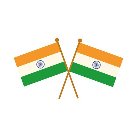happy independence day india, crossed flags patriotic celebration vector illustration flat style icon Foto de archivo - 150291732