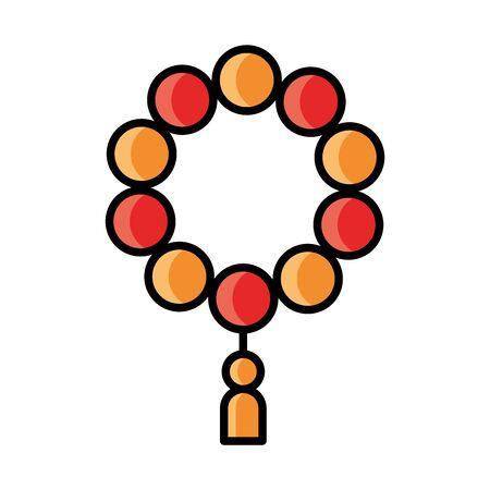 arabic rosary ramadan islamic celebration vector illustration line and fill icon