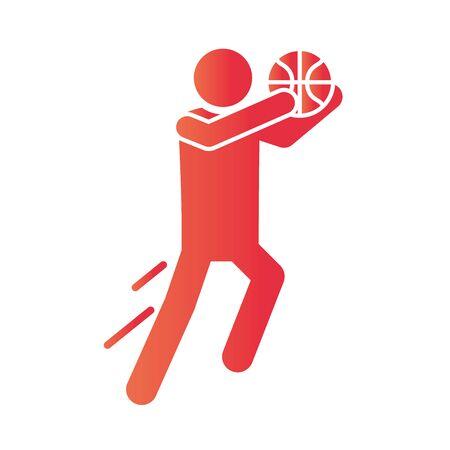 basketball game, sportsman training recreation sport gradient style icon vector illustration Illusztráció