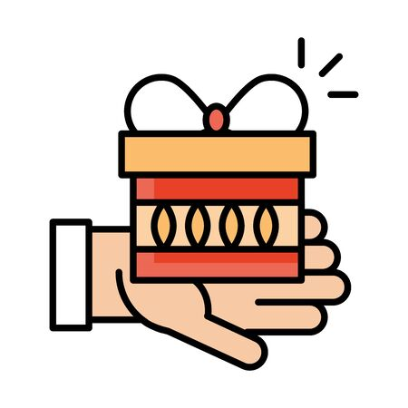 hand holding gift box surprise celebration line and fill style icon vector illustration