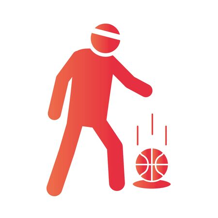basketball game, player with ball tournament recreation sport gradient style icon vector illustration