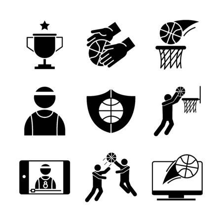 basketball game, recreation sport silhouette style icons set vector illustration Illusztráció