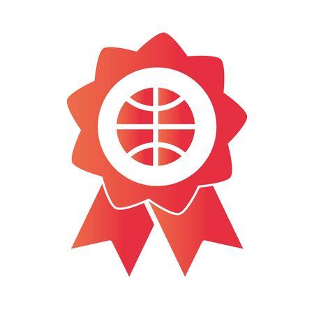 basketball game, rosette medal recreation sport gradient style icon vector illustration Stock fotó - 150295406