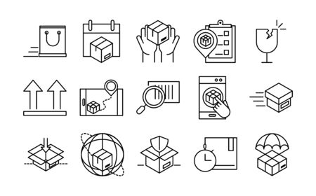 delivery packaging, cargo distribution, logistic shipment of goods icons set vector illustration line style design