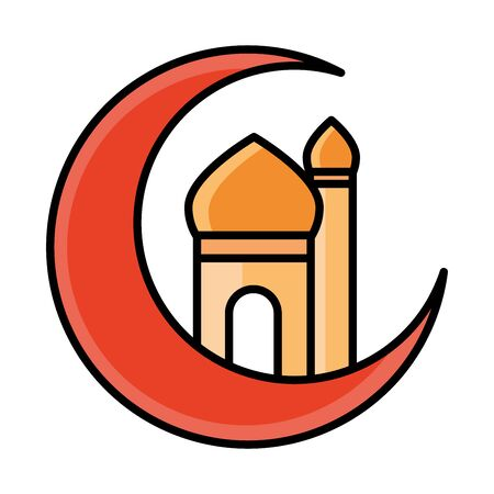 half moon with temple eid mubarak islamic religious celebration vector illustration line and fill icon Foto de archivo - 150295409