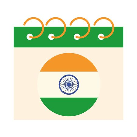 happy independence day india, calendar reminder date celebration vector illustration flat style icon Vectores