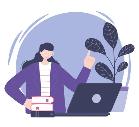 online training, woman with laptop books, education and courses learning digital vector illustration Ilustracja