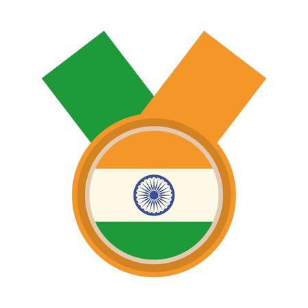 happy independence day india, national flag emblem design vector illustration flat style icon 向量圖像
