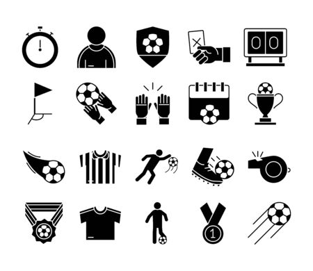 soccer game, trophy league recreational sports tournament silhouette style icons set vector illustration