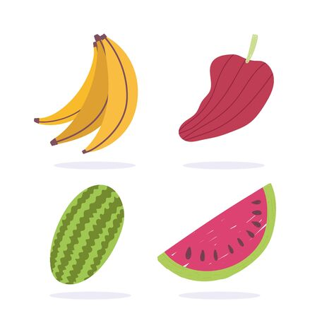 banana watermelon and pepper fruits vegetable fresh nutrition diet organic food vector illustration