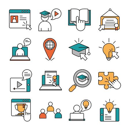 online education, website and mobile training courses icons set vector illustration line and fill icon