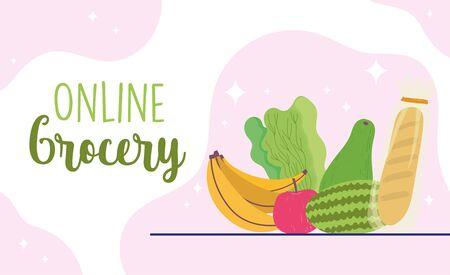 online market, fruit vegetable and bread food grocery shop home delivery vector illustration 向量圖像