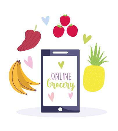 online market, buying grocery food products in mobile app vector illustration
