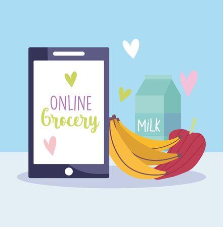 online market, smartphone banana pepper and milk, food grocery shop home delivery vector illustration
