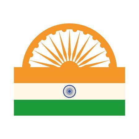 happy independence day india, ashoka wheel flag proud emblem vector illustration flat style icon