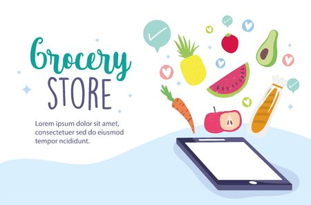online market, smartphone order ingredients food delivery in grocery store vector illustration