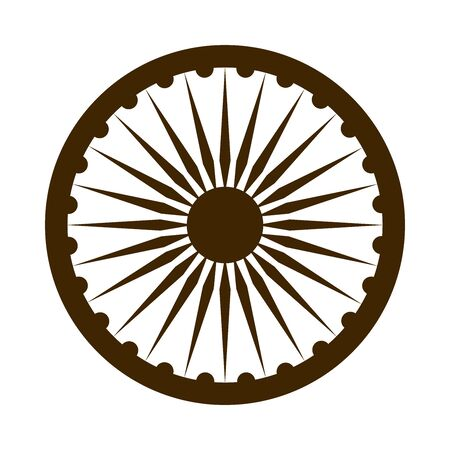 happy independence day india, ashoka wheel national emblem vector illustration silhouette style icon 向量圖像