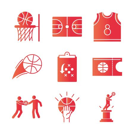 basketball game, recreation sport gradient style icons set vector illustration