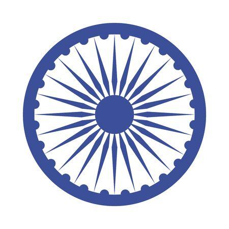 happy independence day india, ashoka wheel national emblem vector illustration flat style icon 向量圖像