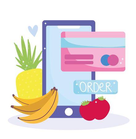 online market, smartphone order pay digital, food grocery shop home delivery vector illustration