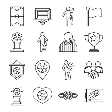 soccer game, trophy league recreational sports tournament line style icons set vector illustration Illustration