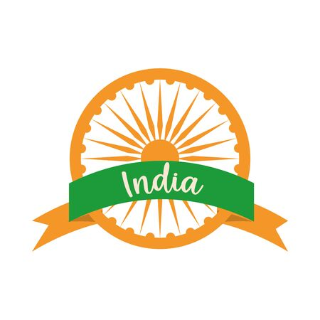 happy independence day india, ashoka wheel ribbon and letters vector illustration flat style icon