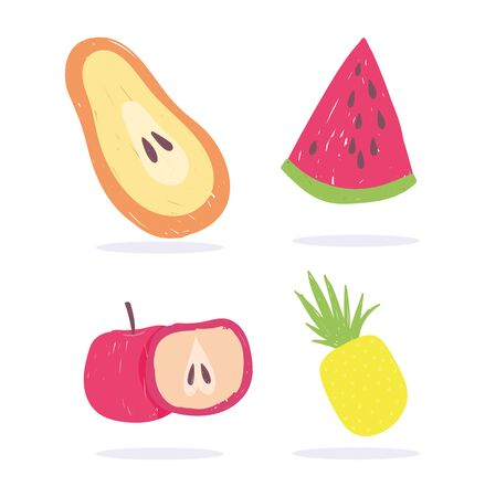 papaya apple watermelon and pineapple fruits fresh nutrition diet organic food vector illustration