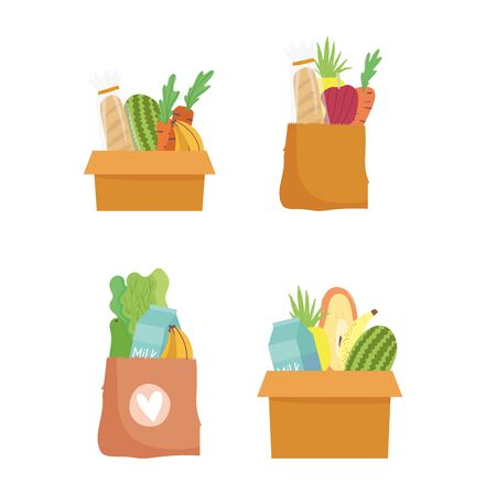 online market, paper bags and cardboard boxes with food, grocery shop home delivery vector illustration