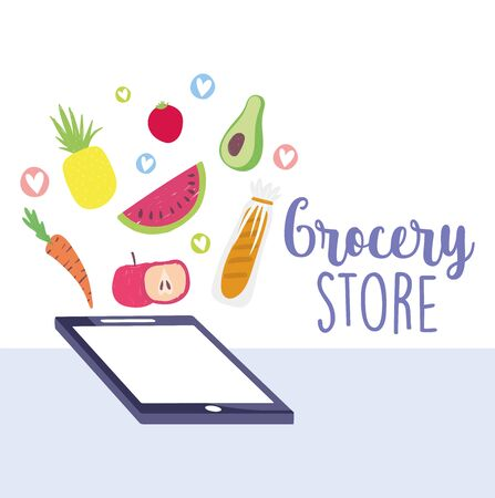 online market, smartphone fruits vegetable and bread food delivery in grocery store vector illustration Illustration