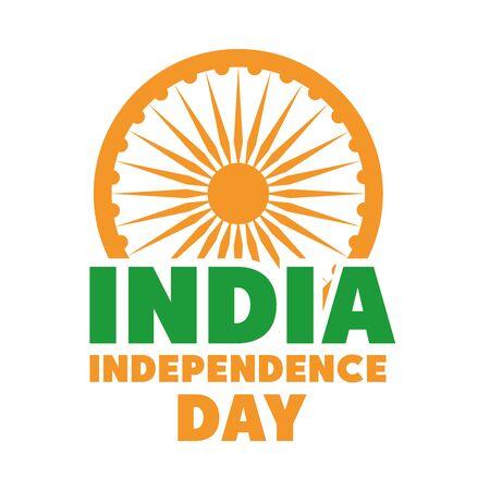 happy independence day india, ashoka wheel lettering celebration vector illustration flat style icon 向量圖像