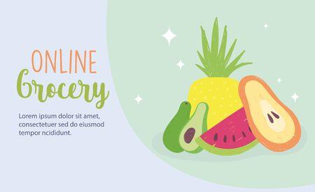online market, fruits fresh food grocery shop home delivery vector illustration 向量圖像
