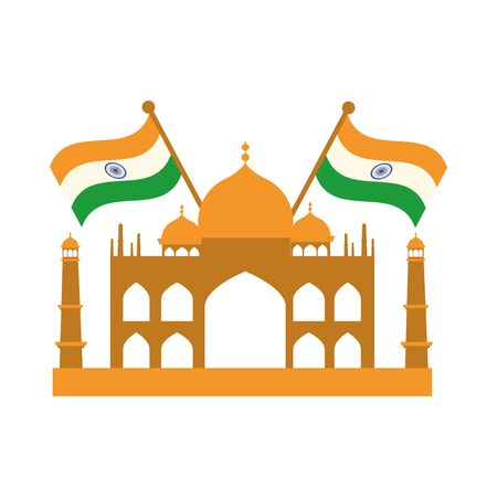 happy independence day india, famous taj mahal temple flags vector illustration flat style icon