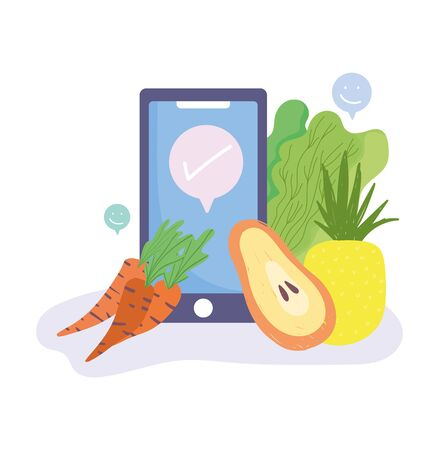 online market, smartphone carrots papaya and pineapple food grocery shop home delivery vector illustration