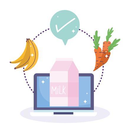 online market, computer milk fruit vegetable check mark, food grocery shop home delivery vector illustration