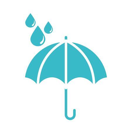 umbrella water drops rain protection nature liquid blue silhouette style icon vector illustration