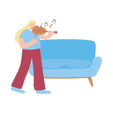 stay at home, girl with fiddle in room, self isolation, activities in quarantine for coronavirus vector illustration