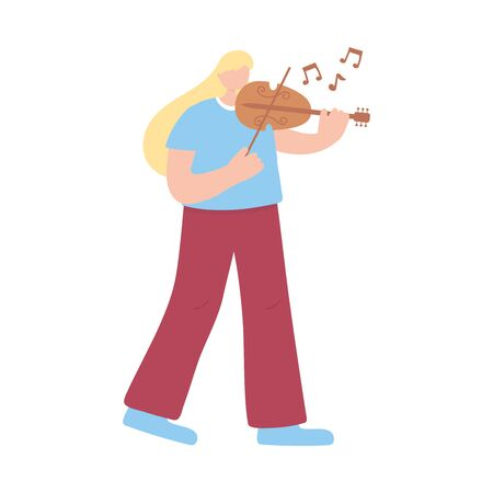 blonde woman playing violin musical instrument isolated icon white background vector illustration