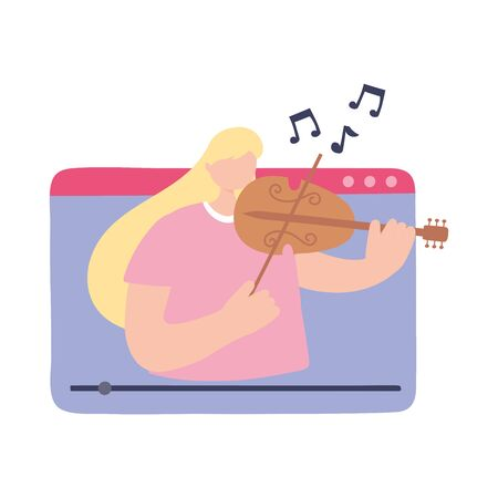 stay at home, girl playing fiddle in video website, self isolation, activities in quarantine for coronavirus vector illustration