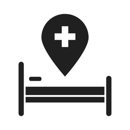 bed location pointer healthcare medical and hospital pictogram silhouette style icon vector illustration Ilustracja
