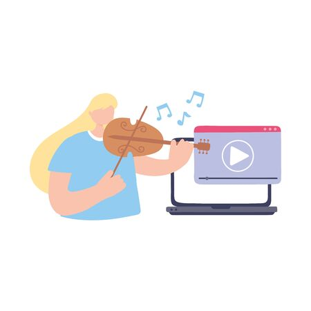 stay at home, girl in concert online with violin, self isolation, activities in quarantine for coronavirus vector illustration Stock Illustratie