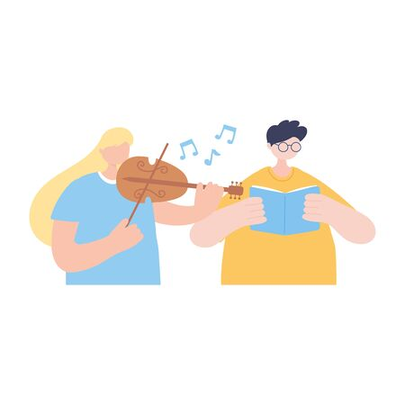 stay at home, girl playing fiddle and boy reading book, self isolation, activities in quarantine for coronavirus vector illustration Stock Illustratie