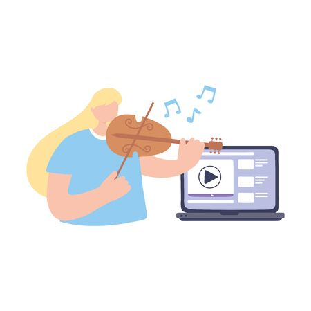 stay at home, online music learning performer playing violin, self isolation, activities in quarantine for coronavirus vector illustration
