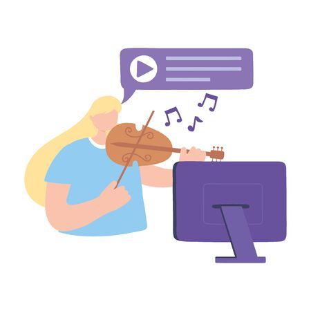 stay at home, girl playing fiddle concert online laptop, self isolation, activities in quarantine for coronavirus vector illustration