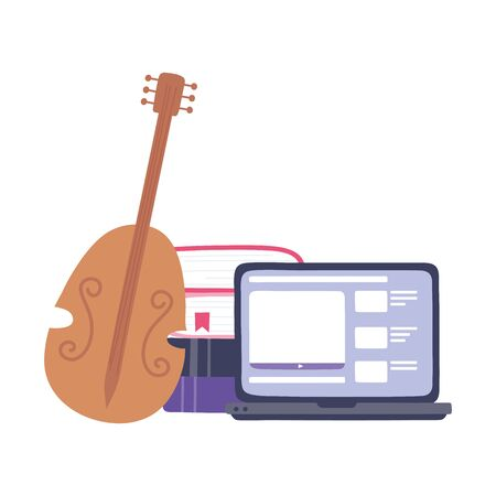 fiddle instrument with laptop and stack of books image vector illustration Stock Illustratie