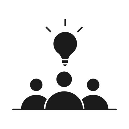 businesspeople team solution work management developing successful silhouette style icon vector illustration