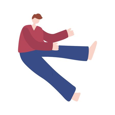 young man practicing stretching exercises on white background isolated icon vector illustration Stock Illustratie