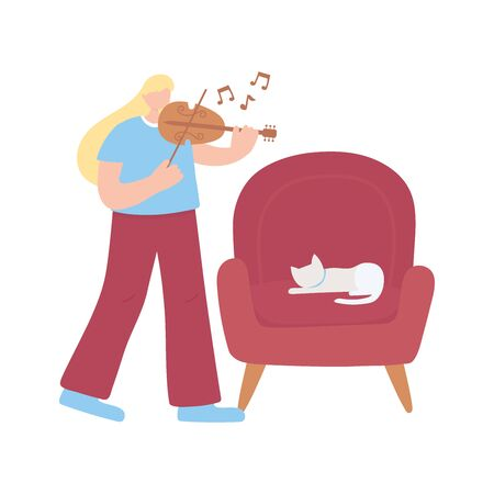 stay at home, girl with fiddle and cat on chair, self isolation, activities in quarantine for coronavirus vector illustration