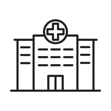 building hospital healthcare medical pictogram line style icon vector illustration